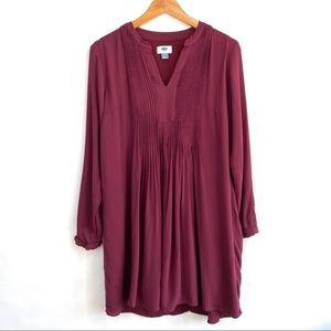Old Navy Cranberry Vneck Long Sleeve Dress